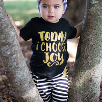 Today I Choose Joy Tank, Baby Shower Gift, Baby Girl Clothes, Baby Clothes Girl, Cute Baby Gifts, Black and Gold Top