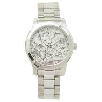 Crackled White Paint Abstract Wristwatch