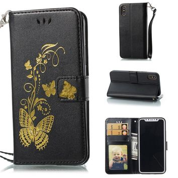 LUOSHUYAN Flip Cover Golden Butterfly Stamped PU Leather Photo Frame Wallet Stand Mobile Phone Case