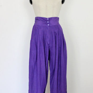 vintage high waist pants / 80s purple high waist trousers / violet harem pants / vintage loose fit pants / puffy high waist trousers