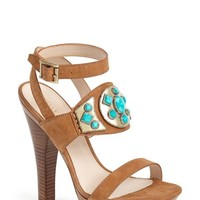 "Women's Pelle Moda 'Cian' Jeweled Leather Ankle Strap Platform Sandal, 5 1/2"" heel"