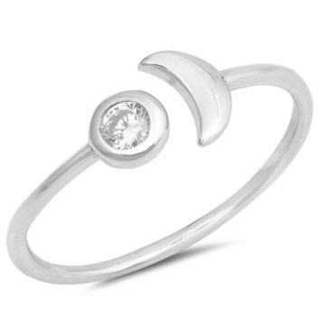 .925 Sterling Silver Moon and Sun CZ Ring Ladies and Kids Size 3-10 Midi Thumb Knuckle