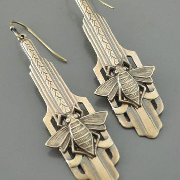 Chloe's Handmade Art Deco Vintage Brass Honey Bee Earrings