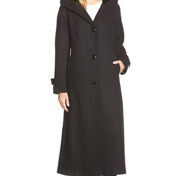 Women's Gallery Hooded Full Length Wool Blend Coat,