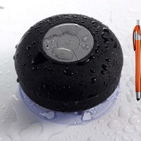 JuSp TM, Mini Wireless Waterproof Bluetooth Shower Speaker Hands Free Speaker for iPhone /iPad / Cellphones-Black +1 Random Colorful Stylus Ballpoint Pen Gift