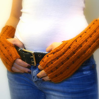 Fingerless Gloves, Pumpkin Orange Hand Warmers, Wrist Warmers, Mitts. Handmade, Beaded Black Glass Beads