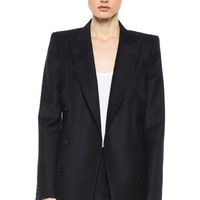BLK DNM | Double Breasted Tailored Blazer in Navy Blue Pinstripe www.FORWARDbyelysewalker.com