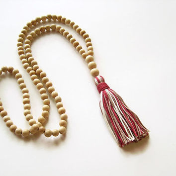 Long wood beaded necklace with tassel, White wood long tassel necklace, Natural necklace multicolored tassel , Wood jewelry tassel jewelry