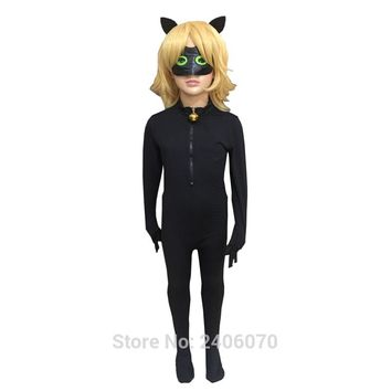 Halloween Christmas Children Clothing Sets Miraculous Ladybug Cat Noir Cosplay Costume For Boy Carnival Kids Jumpsuit+Mask+Wigs