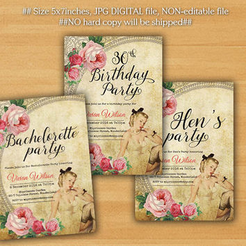 Hens party invitations, Vintage bridal shower, Pin Up Girls, Bachelorette Party or Birthday Party invitation 18th 30th 40th - card 326