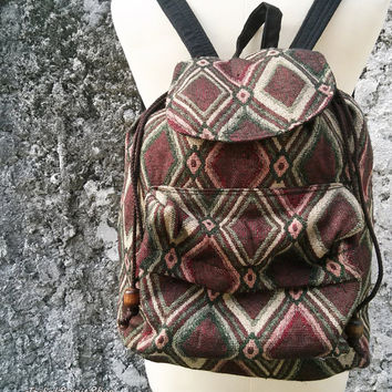 Boho Backpack Ethnic Aztec Tribal Styles Hippies Gypsy Nepali Patterns Bags Woven Handmade Rucksack Hipster Hobo Purse Native For school