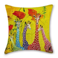 Jellybean Giraffes:Vintage French Country Art Cottage Look Cotton Linen Pillow