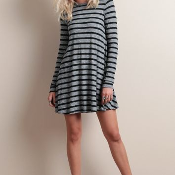 Striped Long-Sleeve Dress
