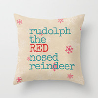 Rudolph the red nosed reindeer Throw Pillow by Sylvia Cook Photography | Society6