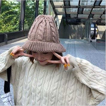 b6940c3b225 Ymsaid Thick Warm Knitted Crochet Bucket Hats Female Roll Brim F