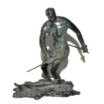 Art Deco Bronze Nude Skier Sculpture - Nude Bronze Woman Skiing - Impressionist - Genuine Fine Art Signed and Numbered