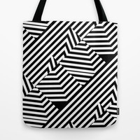 Trendy Black and White Graphic Stripes Tote Bag by PTK Designs
