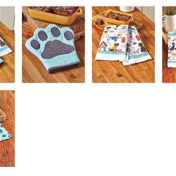Pet Lover's Kitchen Linens Towel Set Oven Mitt Cat Dog Paw Print Cotton Appliqué