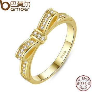 Bamoer Authentic 100% 925 Sterling Silver Bow Knot Stackable Ring Micro Pave Cz Rose Color Women Wedding Jewelry Pa7129