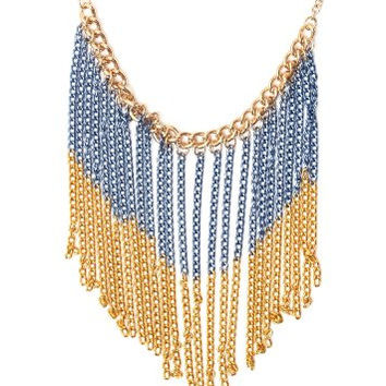 Two Tone Chain Blue Fringe Bib Necklace NH35 Gold Tone Cascade Chandelier Choker Fashion Jewelry