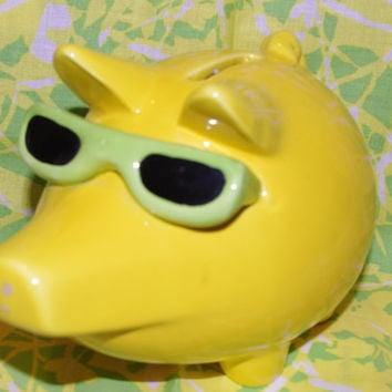 Darling Vintage Yellow Coin Bank of Pig With Sun Glasses