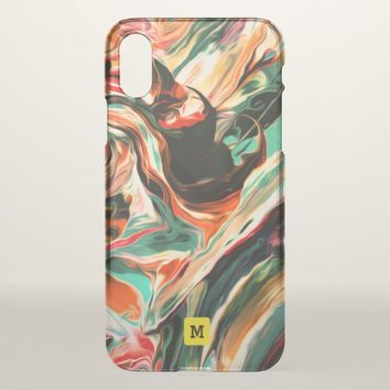 Monogram. Modern Free Flow Paint Colors. iPhone X Case