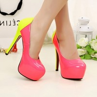 Classics Womens Sexy Fluorescent Pink Yellow High Heels Stilettos Pump Shoes 1nK