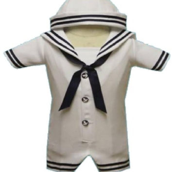 Baby Boy Christening Sailor Dress Outfit Sizes Xs-s-m-l-xl /#2047 White