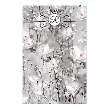 Ice rose monogram stationary stationery