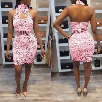Stand Collar Halter Backless Short Lace Dress