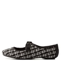 Black/White Boucle Tied Mary Jane Flats by Charlotte Russe