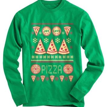 CREYON Pizza Ugly Christmas Sweater Day First