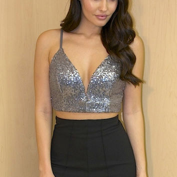 Sequin Deep V-neck Crop Top