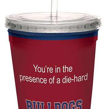 Tree-Free Greetings cc34882 Bulldogs College Basketball Artful Traveler Double-Walled Cool Cup with Reusable Straw, 16-Ounce