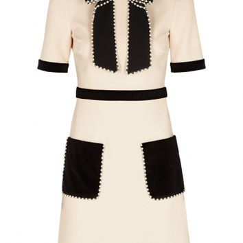 Gucci Ecru embellished stretch-knit dress