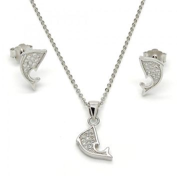 Sterling Silver 10.174.0193 Necklace and Earring, Dolphin Design, with White Micro Pave, Polished Finish, Rhodium Tone
