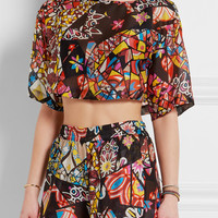 Emilio Pucci - Cropped printed hammered-silk top