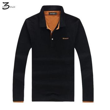 XMY3DWX Casual Polo Shirt Men Letter Print Long-Sleeve Men's Polos New Arrival Fashion Brand Polo Shirts Man Hot-Sale Slim Polos