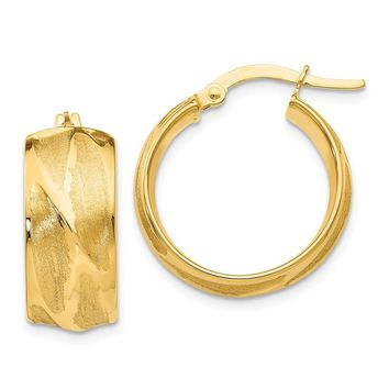 14k Gold 20 mm Textured Small Round Hoop Earrings
