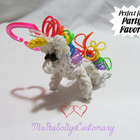 3D Unicorn Charm & Key Chain Party Favor Rainbow Loom - Kids Birthday Party Favor Character for Children White Pink Multicolored Rubber Band