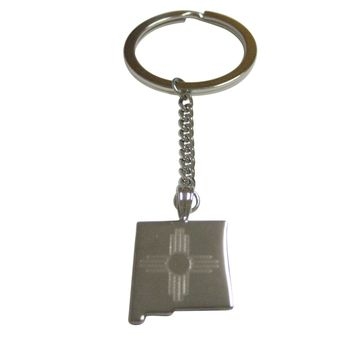 New Mexico State Map Shape and Flag Design Pendant Keychain