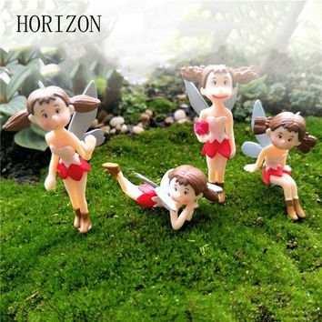 PEAPONHS 4Pcs/Set Fairy Garden Figurines Miniature Hayao Miyazaki XIAOMEI Resin Crafts Ornament Gnomes Moss Terrariums Home Decorations