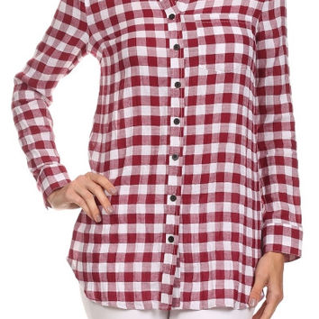 One Pocket Red Plaid Button Up *Size XL-3XL*