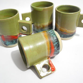 Espresso Cup, Pottery Coffee Cup, Gift of Coffee Lovers,  Handmade Pottery, Olive Green, Red and Turquoise