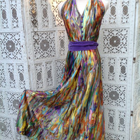 Vtg 70's Halter Maxi Dress Watercolor with Purple Belt Slinky Qiana Disco Girl Prom Size Small //SuzNews Etsy Store//