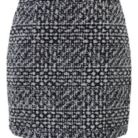 Mid Rise Tweed Skirt in Black