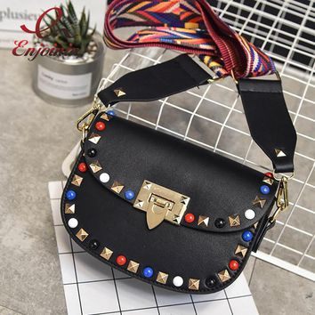 Fashion designer style colorful rivets woven strap ladies shoulder bag saddle bag women's purse crossbody messenger bag  4 color