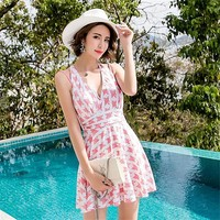 One piece deep V-neck dress print push up padded skirted bathing suit