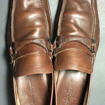 SALVATORE FERRAGAMO Brown Penny Loafers Men's Shoes Size 12