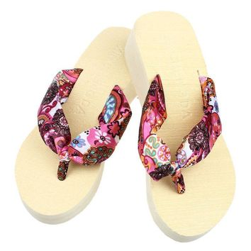 2017 Ulrica Free shipping HIgh Quality Wedge Platform Thong Flip Flops Sandals Shoes B
